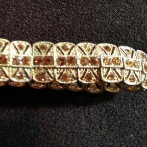 Jewelry - Marcasite with yellow 'diamond' stone bracelet